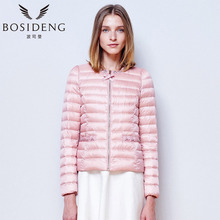 BOSIDENG women's clothing women down coat diamonds collar diamonds pocket bowknot zipper ultra light basic sale B1501040