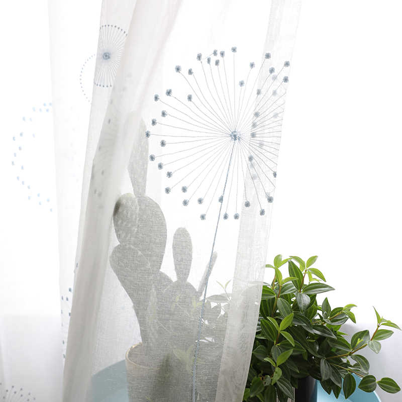 Chicity Home Decor Tulle Curtains For Living room Embroidered Dandelion tulle for bedroom Soft Tulle for kitchen Customized