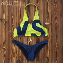 NIDALEE Letter VS Bikini Yellow Swimsuit Women Swimwear Sexy Bathing Suit Bikinis Women 2017 Bikini Halter Women's Swimsuits