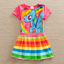 Girl children wear short-sleeved dress summer pony bao li cartoon dress of pure cotton round collar A word of the girls SH6218