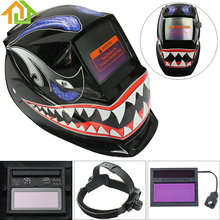 Welding Helmets / Face Mask / Electric Welding Mask / Weld Cap Shark Mouth Adjust Solar Auto Darkening TIG MIG Grinding(China)