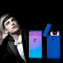 Novelty Rechargeable Electronic Windproof Usb Charge Dual Arc Lighter Plasma For Cigarette Smoking