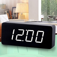 Factory Wood Alarm Clocks Thermometer Wood LED Table Clocks with Sounds Control Big Numbers Digital Clock Larger Square Clocks