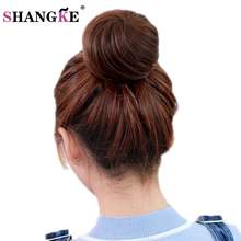 SHANGKE Short Straight Hair Bun Heat Resistant Synthetic Hairpieces Synthetic Clip In Hair Extensions Women Hairstyles