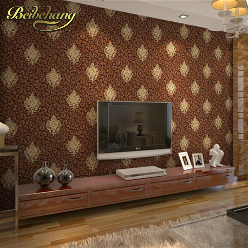 beibehang  High Quality Europea Style Pvc Wallpaper Embossed Floral Pattern Wall Paper Home Decoration 3D Wallcovering <br>
