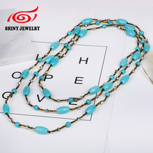Synthetic Turquoises Bead Necklaces for Woman Blue Color Chain Statement Vintage Accessories Ethnic Jewelry New Bijouterie