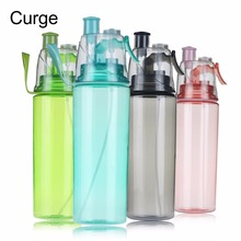 CURGE Creative Button Mist Spray Drinking Bottle 600ML Portable Atomizing Professional Sports Dual-use Bottle BPA free