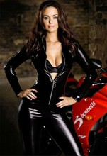 women Bodysuit sexy Fashion Black Long Sleeve Catsuit Jumpsuit Sexy Erotic Lingerie Women Zipper PVC Faux Leather clothing