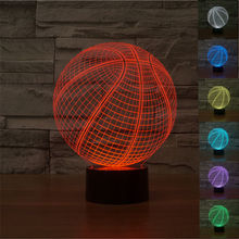 2016 Creative Basketball 3D Lamp Optical Illusion Bulbing Led Table Lamp RGB 7 Color Lava Lamp Touch Baby Led Night Light