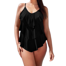 One-Piece Swimsuit Monokini Slimming Ruffle Vintage Plus-Size Women Cover Bathing-Suits