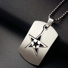 10PCS/Lot Wholesale Dog Tag Chain Necklace Star Titanium Pendant Jewerly Fashion Sweater Chain Necklace 50CM 70CM(China)