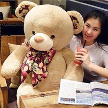 100cm Big size Teddy bear dolls plush toys print hugs Light  brown teddy bears Christmas gifts