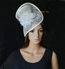Cream ivory Sinamay fascinator for kentucky derby,races,wedding,melbourne cup,ascot races.