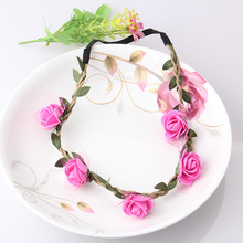 2017 New Women Bohemian Rose Flower Headband Party Wedding Floral With Ribbon Adjustable Elastic Hair Accessories Girls Headband(China)