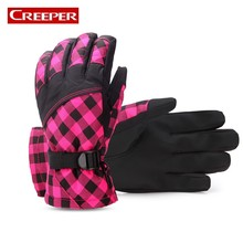 Outdoor Thermal Women Mens Waterproof Fleece Lined Snowboard Skiing Gloves Plaid Designer Fishing Mountain Climbing Lovers Luvas