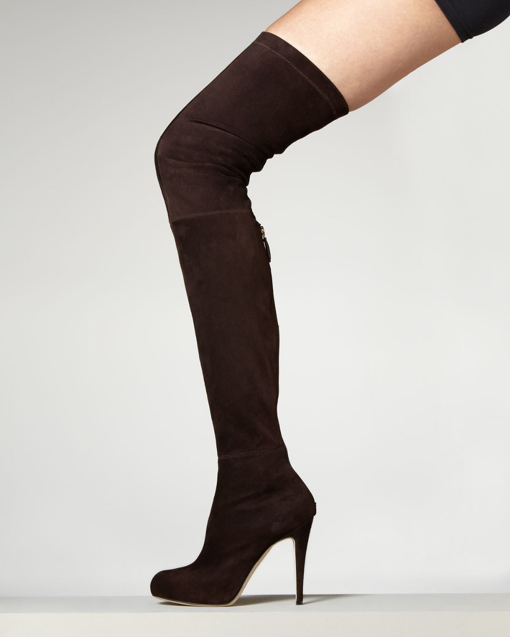 BC Sexy Brown Suede Round Toe Stiletto High Heel Over The Knee Thigh High Women Boots <br><br>Aliexpress