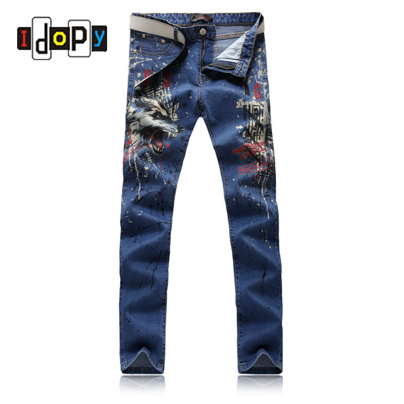 2017 New Top Hot Sale Mens High Quality Jeans Famous Brand Casual Men Slim Fit Wolf Printed Denim Pants For MenОдежда и ак�е��уары<br><br><br>Aliexpress