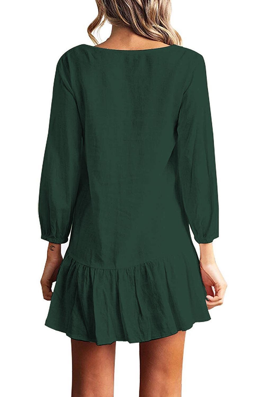 Women Autumn Dresses V Neck Cotton Linen Dress Femme 2018 Mini Casual Ruffle Long Sleeve T Shirt Dress Women Linen Dress 8