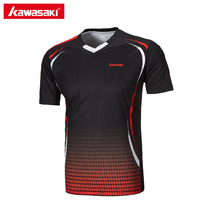 Genuine Kawasaki ST-171005 Men T-shirt V Neck Short Sleeve Badminton Shirts Tennis T Shirt For Male Outdoor Sports Sportswear(China)
