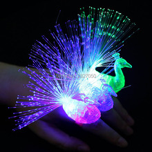 Luminous Light Up LED Animal Finger Light toy Optical Fiber Finger Lamp Decoration Flash Colorful Party Gift toys for children(China)