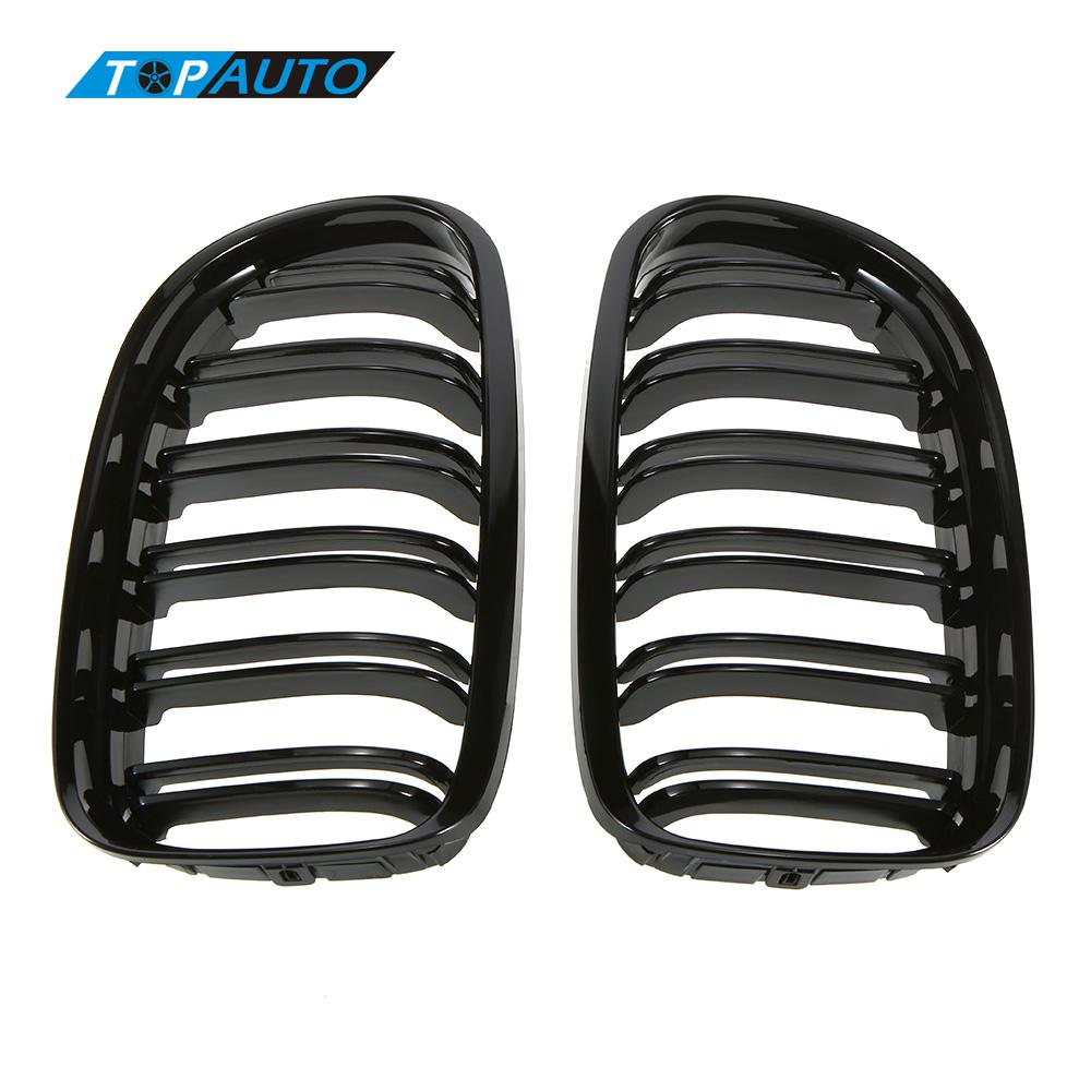 Car-styling Grill for BMW E90 2008-2011 One Pair of Gloss Black Car Front Grille Grilles with Double Line car Styling(China (Mainland))