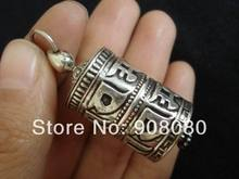 T9057  Tibet 925 silver Prayer wheel box,41*17mm,GAU amulets pendant,six words mantras