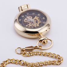 ORKINA Classic Retro Royal Skeleton Pocket Watch Big Number Carved Case Transparent Glass Lid Hand Wind Mechanical Pendant 14