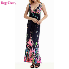 Happy Cherry 5XL Summer Bohemian Maternity Sleeveless Dresses Pregnant Women Clothing For Pregnancy Beach Sexy Deep V Neck Dress(China)