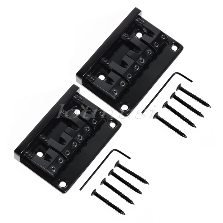 2Pack 4String Bridge L Shape Saddle Bridge Black 18mm string space For JB PB Bass Guitar Replacement<br>