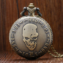 Vintage Bronze Fashion Deathe Note Theme Skull Design Pocket Watch with Chain Necklace(China)