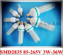 aluminum+glass SMD 2835 LED corn bulb light lamp 3W 5W 7W 9W 12W 16W 24W 36W AC85-265V E27 CE ROHS 50PCS/box wholesale