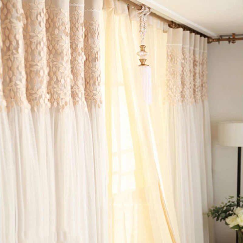Korean Window Curtains Living Room Solid Colors Luxury Tulle/Sheer +Blackout Curtains for the Bedroom Window Screening Panel