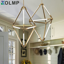 Post-modern Fashion Design Home Lighting Brass 9 Arms Geometry T5 tube Pendant Lamp Nordic Hanging Drop Light AC100-240V