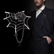70b471f9ea192 i-Remiel Fashion Spider-web Chain Tassel Brooch Personality Spider Collar  Pin Buckle Bra