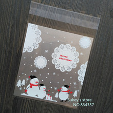 New product 100pcs/lot packaging bags Christmas snowman self adhesive plastic bag food bag party bag 10x11cm