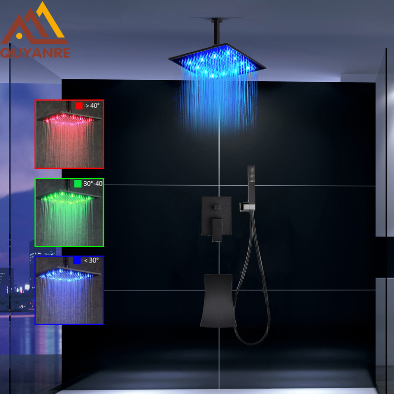 quyanre wanfan frap black led rainfall shower faucet set rainfall led shower head waterfall spout with 3-way mixer tap bathroom shower