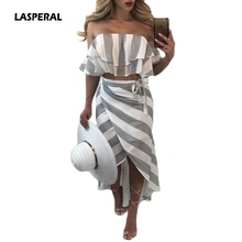 LASPERAL 2017 Women Sexy Off Shoulder Crop Tops +Long Skirt Striped Two Pieces Set Ruffles Strapless Tops Women's Tracksuits Set(China)