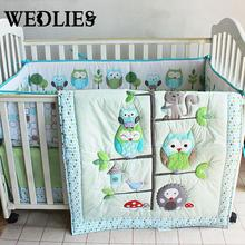 7pcs Cotton Baby Bedding Set Owl Family Nursery Cartoon Bed with Quilt Bumper Sheet Fitted Cover Dust Ruffle for Boys Girls