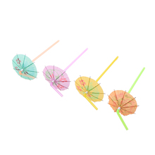 Fruit Juice Cocktail Straws Umbrella 1 Pack Plastic BBQ Hawaiian Theme Party Marriage Wedding Decoration Mixed Color(China)