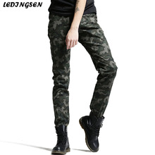 LEDINGSEN Mens Army Combat Cotton Camo Slim Fit Harem Cargo Pants tactical Camouflage Pants Long Skinny Trousers Plus Size 38(China)