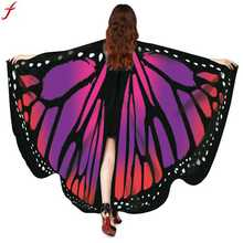 Women Beach Scarf Pashmina Butterfly Wings Shawl Scarves 2017 Ladies Novelty Print Scarf Poncho Shawl Costume Accessory(China)
