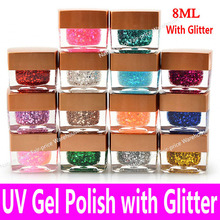 2017 High Quality UV Nail Gel Polish Soak Off Cheap China Brand Long Lasting LED Glaze Glitter 1 bottle in 14 Colors 8ml 0.28oz(China)