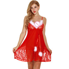 Buy New Style Fashion Women Female Santa Lingerie Christmas Red Halter Lace Chemise Sleepwear Fancy Erotic Lingerie #20