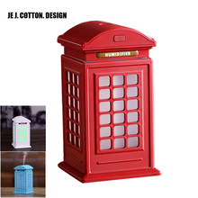 Telephone Box Style USB Humidifier with LED Lights Ultrasonic Humidifiers Humificador Aromatherapy Aroma Diffuser for Home 300ML