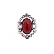 3pcs/set Crystal Border Red Imitation Gemstone Rings For Women Engagement Fashion Charming Ring Finger Accesssory