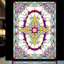 Static film Custom Tiffany glass foil European church vestibule ceiling stained glass windows Art sticker marriage room closet