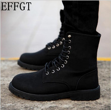 EFFGT NEW men boots fashion casual high help shoes cowboy style lace-up 2017 classic leather ankle season winter tide shoes C888
