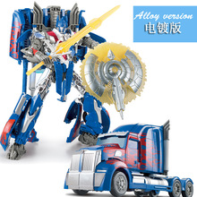 Cool Boy Toys Deformation 4 Optimusd Transformation toy car Truck Robots W8004 large size Plated Action Figure Toys 31cm