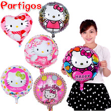 Mixed 10pcs 18 inch hello kitty foil helium balloons baby shower girl cartoon classic toys Birthday party decoration supplies(China)