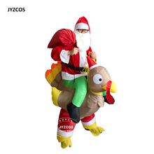 Christmas Inflatable Santa Claus Ride on Turkey Costume Olaf Snowman Fancy Dress for Men Women Adult blown Cosplay Party Outfit(China)